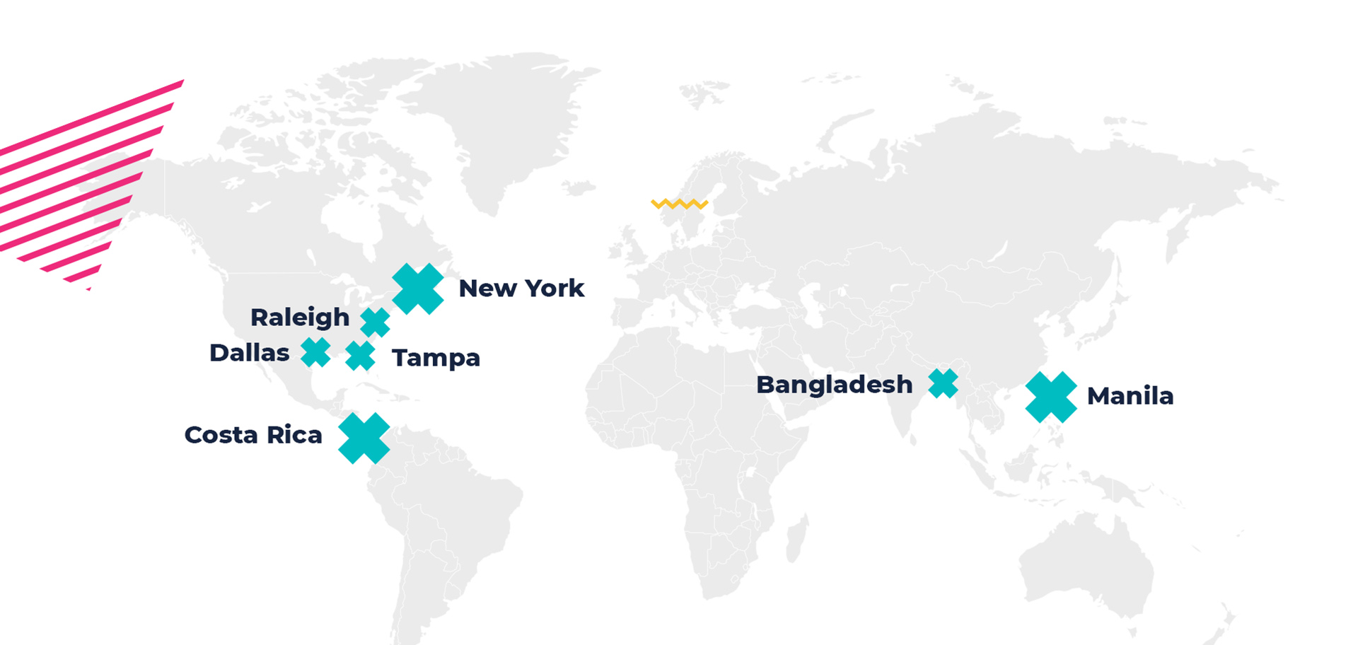 Here's Bold Business Services Locations - New York, Raleigh, Tmpa, Costa rica, Bangladesh, and Manila